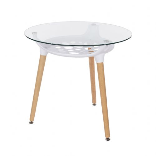 Aspen Round Glass Top Table With Wooden Legs
